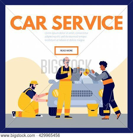 Vector Flat Illustration For User Interface Of Car Service Site. Background With Three Mechanics Who