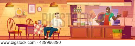 Visitor In Pizzeria, Man Sit At Cafe Table, Baker Hold Pizza Shovel Stand Near Oven At Cashier Desk.
