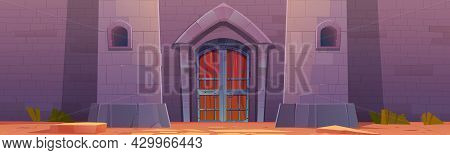 Medieval Castle With Wooden Gates In Stone Wall. Vector Cartoon Illustration Of Old Fortress Exterio