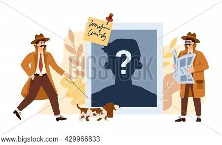 Professional Detectives Research Clues Crimes And Search Criminals People.