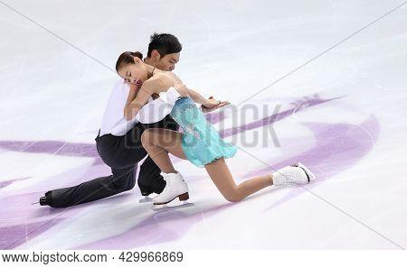 Marseille, France - December 9, 2016: Cheng Peng And Yang Jin Of China During The Pairs Free Skating