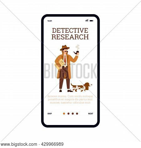 Detective Research And Investigation Onboarding Screen, Vector Illustration.