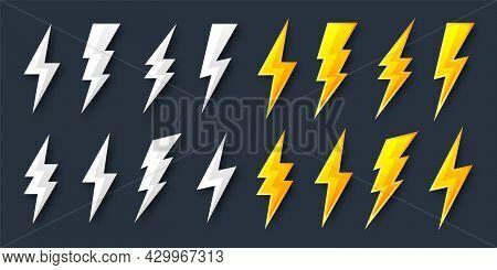 Lightning Bolt Icons Collection. Flash Symbol, Thunderbolt. Simple Lightning Strike Sign. Vector Ill
