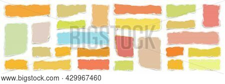 Ripped Various Colorful Paper Strips. Realistic Crumpled Paper Scraps With Torn Edges. Shreds Of Not