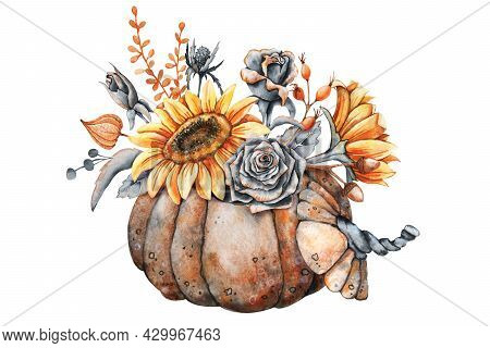Autumn Bouquet In Pumpkin, Sunflower Flowers, Vintage Black Roses, Leaves, Rose Hips. Thanksgiving A