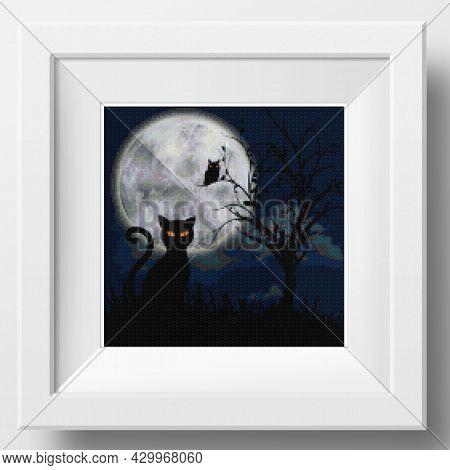 Cross Stitch Halloween Decoration. Black Cat. Illustration Of Cross Stitch Embroidery. Imitation Of