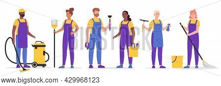 Set Of Cleaning Company Staff To Work With The Equipment. Cleaning Service, People Vacuuming And Was