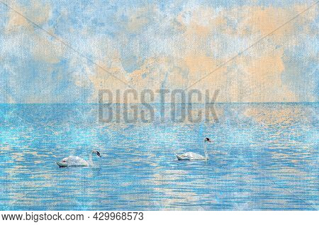 Pair Of Swans Swimming In The Sea. Beautiful Birds Against The Blue Sky. White Swan Symbolizes Love,
