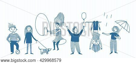 A Set Of Spot And Line Drawn Kids Doing Different Things. Design With Children's Theme In One Color.