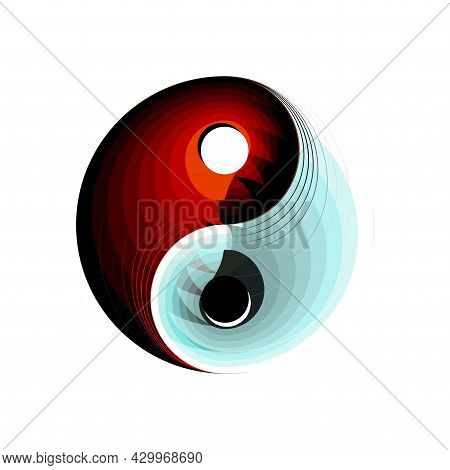Youth Creative Design Solution Yin And Yang Symbol Button, Icon Isolated On White Background. Spirit
