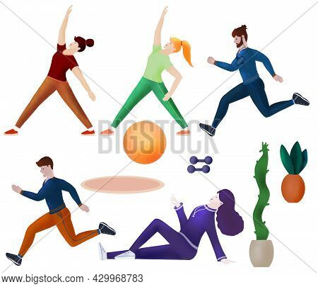 Seth Guys And Girls Go In For Sports, Fitness, Jogging, Aerobics, Inclines, Sports Equipment Isolate