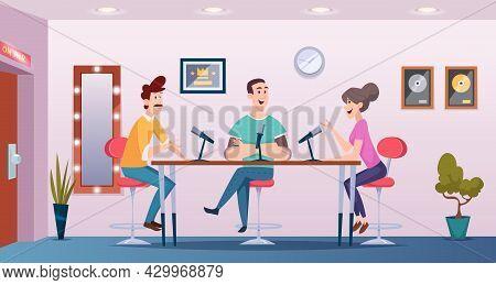Broadcast Studio. Podcast Interview People Talking To Microphones Interior Room Exact Vector Cartoon