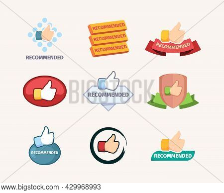 Recommended Banners. Promotional Stylized Graphics Design Templates Badges For Great Deals Branding