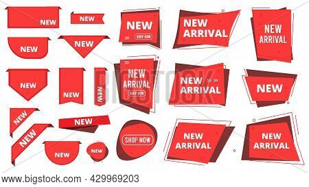 New Arrival Badges Corners. Red Labels For Apparel Store, Shop Or Marketplace. Ad Banners Vector Des