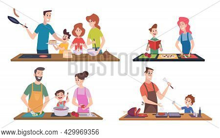 Family Cooking. Happy Couples And Kids Spend Time At Kitchen Preparing Food Serving Table Washing Ut