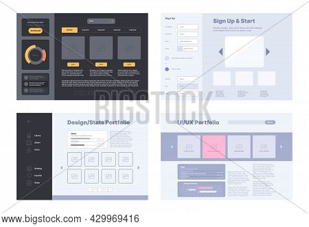 Web Portfolio Layout. Design Template With Preview Dashboard Digital Ui For Artists And Painters Pho