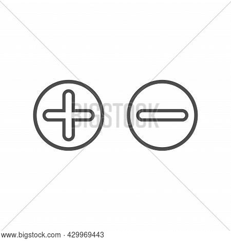 Plus And Minus Buttons In Circle. Black Line Flat Vector Icons Isolated On White. Add Or Plus Purcha