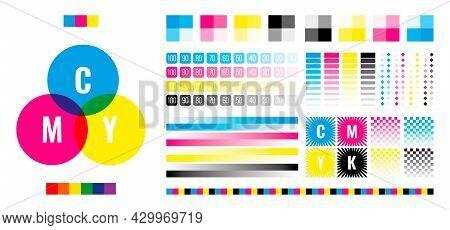 Cmyk Bars. Printing House Press Registration Testing Colors Marks Printer Calibration Colorful Symbo