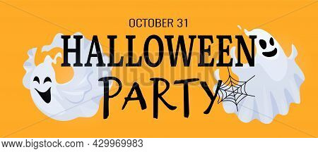 Halloween Party Banner. Cute Scary Ghost And Black Cobweb. Cartoon Spooky Ghosts Vector Characters