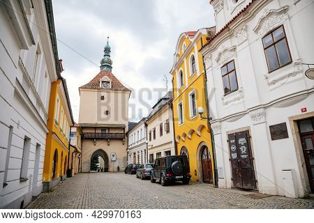 Pelhrimov, Czech Republic, 03 July 2021: Upper Or Rynarecka Gate, Medieval Renaissance Clock Tower,