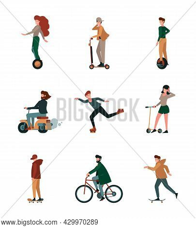 Activity People. Urban Riding Active Lifestyle Person On Electric Scooters Rollers Bikes Vehicles Ga