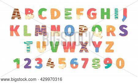 Donuts Alphabet Letters. Food Symbols Text Funny Icons Numbers And Lettering Colored Templates Garis