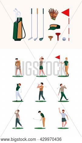 Golf Characters. Sport Healthy Activities White Ball Red Flag Hit Stick Active Game Garish Vector Ac
