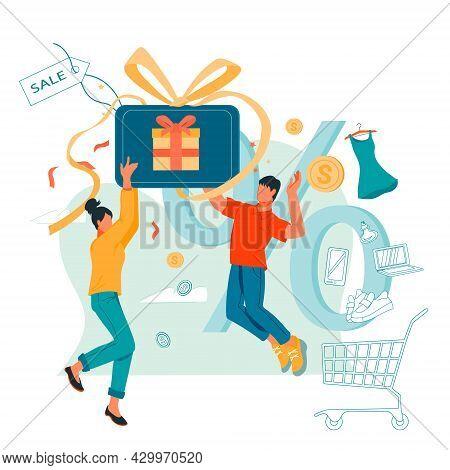 People Saving Money Buying Things. Card Cashback, Customer Loyalty Program And Money Saving Concept,