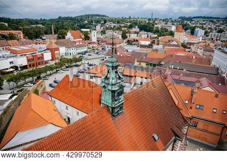 Pelhrimov, Czech Republic, 03 July 2021: Top View Of In Town Square From Observation Tower, Old Baro