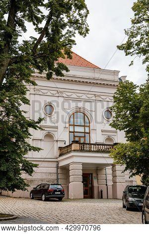 Pelhrimov, Czech Republic, 03 July 2021: Lubomir Lipsky Theater Near Renaissance Castle With Red Fac