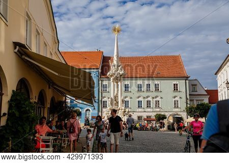 Mikulov, South Moravian Region, Czech Republic, 05 July 2021: Baroque Sculpture Column Of The Holy T