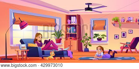 Parents And Child Girl At Home Spending Time On Hobby. Woman Reading Book On Sofa, Father Working On