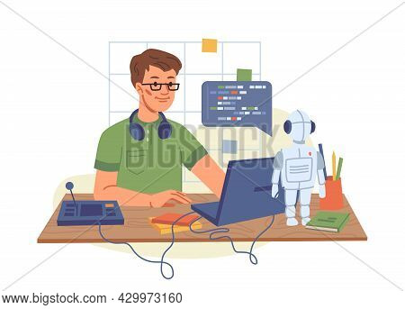 Portrait Of Male It Developer Typing On Keyboard Programming Code On Computer Screen And Laptop Isol