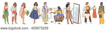 Women Shopping, Trying Choosing Cloth And Shoes In Shop Store, People Flat Cartoon Set. Vector Buyer