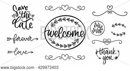 Hand Drawn Frame In Doodle. Handwritten Dividers In Sketch. Save The Date Lettering. Mr And Mrs Call