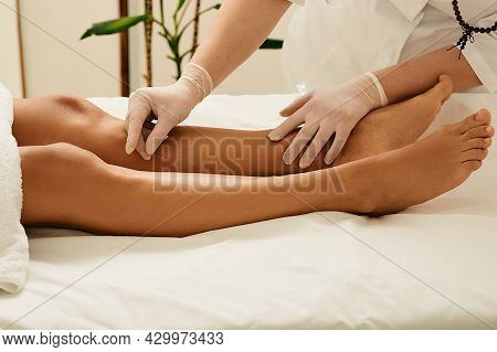 Acupuncture Of Human Leg Shin For Treatment. Chinese Traditional Medicine, Alternative Medicine