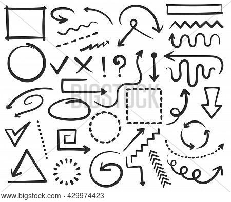 Doodle Arrows And Frames, Hand Drawn Circles, Square Shapes. Sketch Arrow, Border, Frame, Check Mark
