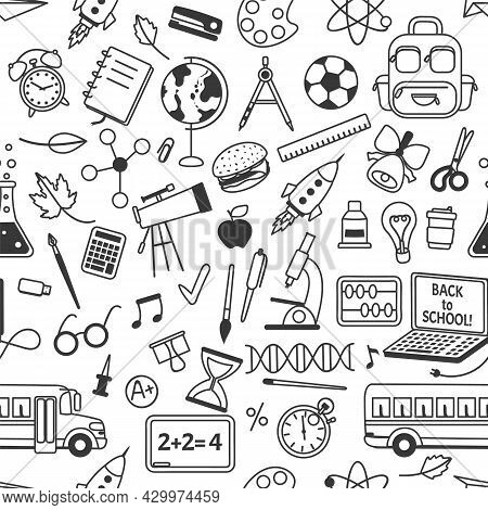 School Doodles Seamless Pattern With School Stationery. Hand Drawn Science, Math, Geography Elements