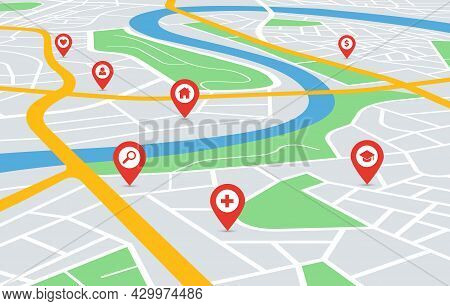 Perspective City Map Navigation With Pin Pointers. Urban Downtown Streets Gps Navigator With Red Loc