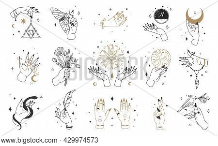Mystic Witch Hands, Female Hand Logo With Esoteric Elements. Magical Crystals, Moon, Jewelry In Hand