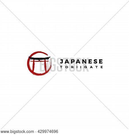 Torii Gate Logo Design. Japanese Traditional Gate Logo Design Vector. Japan Logo Design
