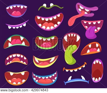 Cartoon Halloween Scary Monster Mouths With Teeth And Tongue. Funny Monsters Characters Expressions,