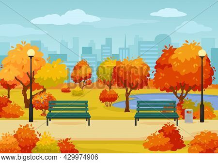 Cartoon Autumn City Park Street With Benches, Trees And Bushes. Fall Season Outdoor Scene Parks Walk