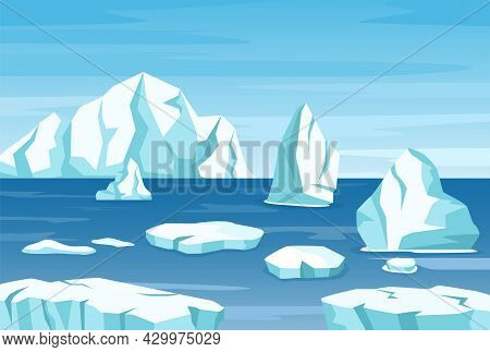 Arctic Polar Landscape With Icebergs, Glaciers And Ice Rocks. Melting Iceberg Drifting In Ocean. Ant