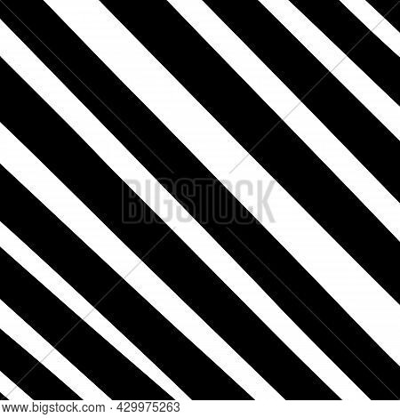 Abstract Doodle Background. Black And White Diagonal Hand Drawn Uneven Stripes. Tilted Lines, Inclin