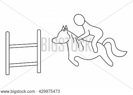 Horseback Riding. Sketch. The Rider Overcomes The Obstacle On Horseback. Vector Icon. The Rider Show