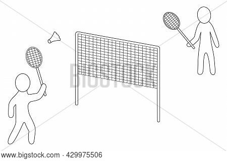 Two Athletes Are Playing Badminton. Sketch. The Player Hits The Shuttlecock With A Racket. A Net Is
