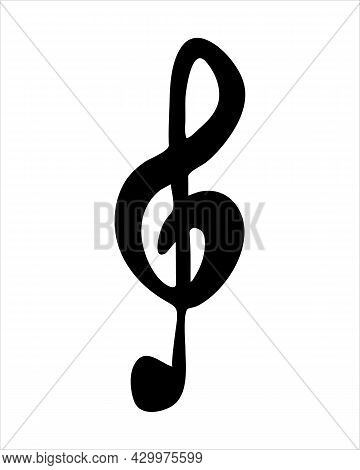 Hand Drawn Of Treble Clef. Music Note Sign Icon. Simple Vector Icon. Black Music Clef Icon. Vector I