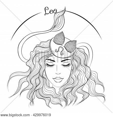 Zodiac. Vector Illustration Of The Astrological Sign Of Leo As A Beautiful Fashion Girl In Hat. Line