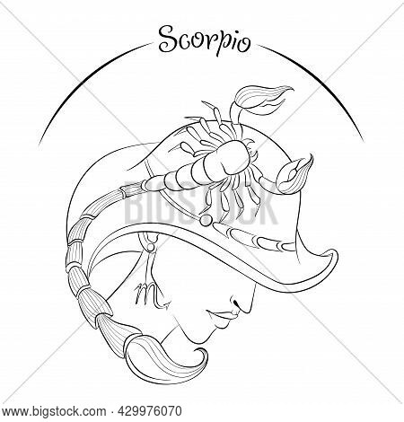 Zodiac. Vector Illustration Of The Astrological Sign Of Scorpio As A Beautiful Fashion Girl In Hat.